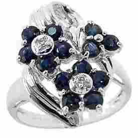 WG 1.75ct blue sapphire 3 flower dia ring