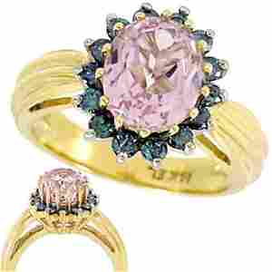 1027: 2.66ct Kunzite .50ct Teal Diamond ring