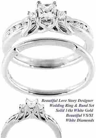 WG .64ct VS/SI princess Diamond wedding ring
