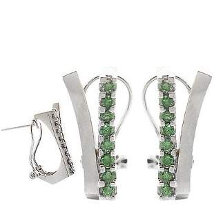 WG .52ct teal green diamond wave bar earring