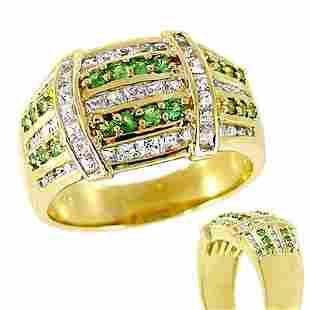 1.32cttw Tsavorite Garnet white saph band ring