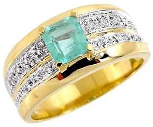 .72ct Columbian Emerald princess .08dia ring