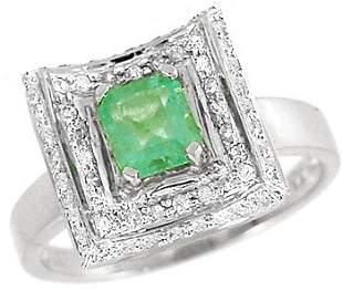 WG .70ct Columbian emerald .28 diamond ring