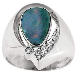 WG 1.10ct Boulder opal bezel diamond ring