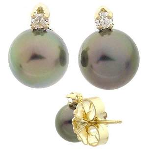 14KT 8.5mm Tahitian Pearl Diamond earring