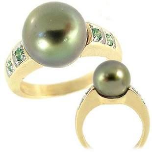 10.5 Tahitian pearl .22ct green diamond ring