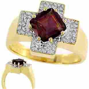 2ct Rose Tourmaline princess .13 diamond ring