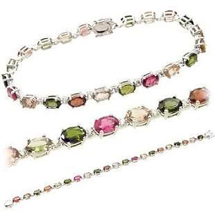 WG 10ct tourmaline oval wh saph 7in bracelet