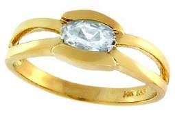 1163: 14KY .50ct Aquamarine oval bezel band ring
