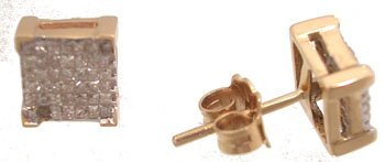 1600: 14KY .50cttw Diamond princess invisible earring