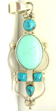 1603: SSilver Turquoise oval and sqrd pear pendant