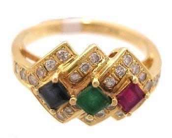 1606: 14KY Emerald Ruby Sapphire Princess Diamond Ring