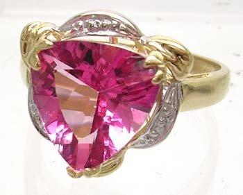1609: 14KY 3ct Pink Topaz Trillion Diamond Ring