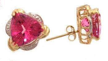 1610: 14KY 6cttw Pink Topaz Trillion Diamond Earring