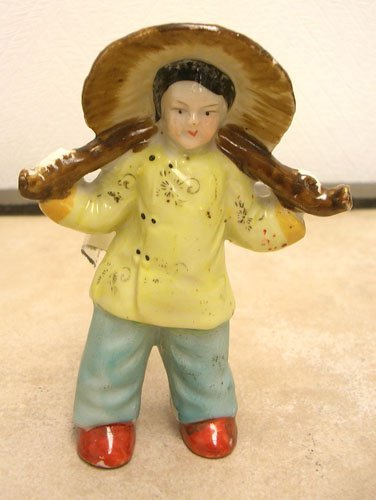 1620: Made in Occupied Japan Woman w/Hat Figurine