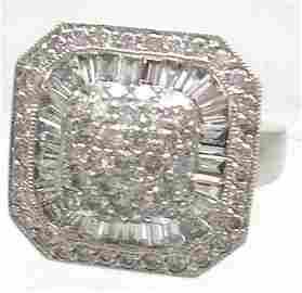 1663: 14KW HUGE 2ct Diamond Bagguette Square Ring