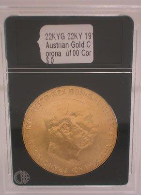 1693: 22KY 1915 Austrian Gold Corona —100 Corona 33.9gm
