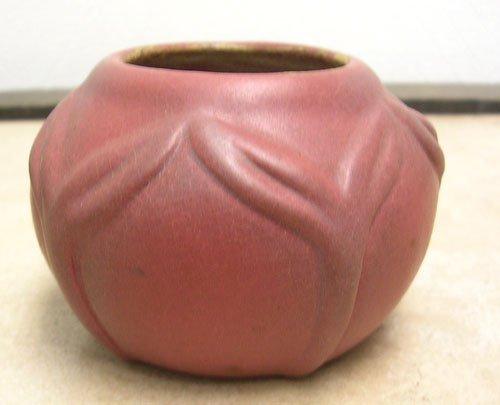 5: Van Briggle Vase with embossed Leaf Design