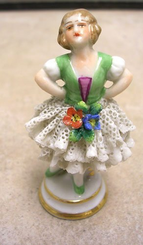 7: Pretty Miniature Dresden Lady With Lace Figurine.