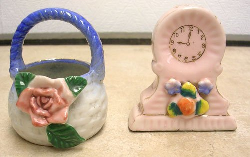 15: Made in Occupied Japan Porcelain Mangle Clock & Bas