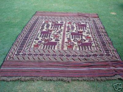 31007: S.Antique Persian Gul-e-Burgista Rug 9 x 6
