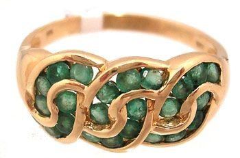 1900: 14KY 1.75cttw Emerald Rd Swirling Channel Ring
