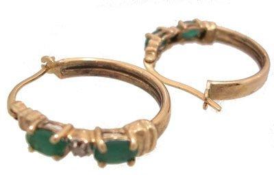 1901: 10KY .50ct Emerald & Diamond hoop Earring