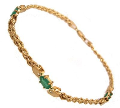 1902: 10KY 1.35cttw Emerald 3 oval double rope bracelet