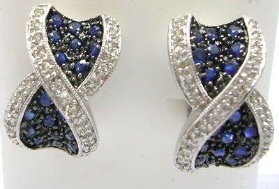 1904: 14KW 1.50ct Sapphire .28ct Diamond Earring