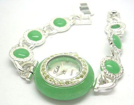 1906: SSilver Green Jade Peridot Rochelle Ladies Watch