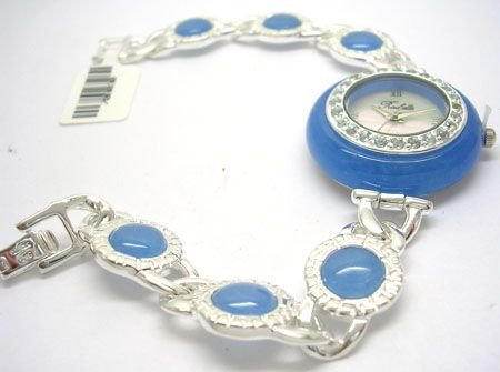 1907: SSilver Blue Jade Blue Topaz Rochelle Ladies Watc