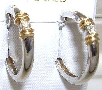 1914: 14KW 2-tone .14 Diamond Round Hoop Earrings