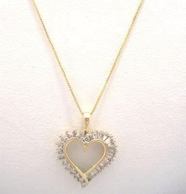 1914A: 10KY .46cttw Diamond bagg/rd Heart pend & chain