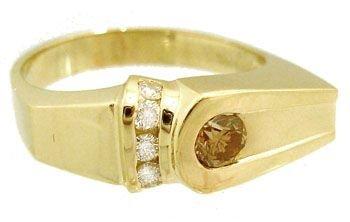 1917: 14KY .55cttw Cognac white Diamond mans Ring