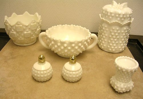 1319A: 6Pc. lot of Hobnail & Relief Glass Dishes/ incl.
