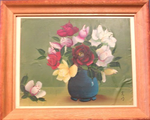 1320C: Artist Signed Floral Painting on Silk