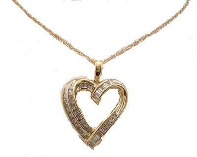 3202: 14KY .25cttw Diamond Rd Bagg Curve Heart Necklace