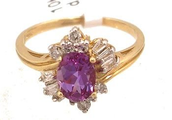 3204: 10KY 1ct Created Alexanderite .28Dia bag/rd ring