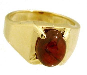 3210: 14KY .Rhodolite Garnet cab mans Ring