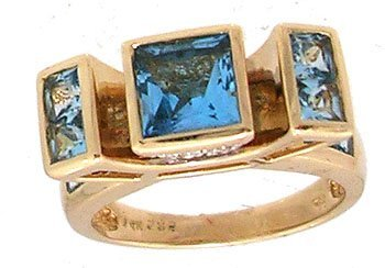 605: 14ky 2.50cttw Blue Topaz and diamond designer ring