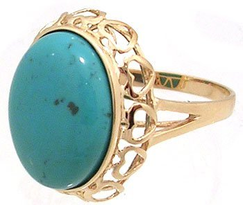 608: 14KY 7.84ct Turquoise Oval Cabachon Ring