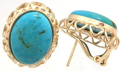 609: 14KY 13.13ct Turquoise Oval Cabachon Earring