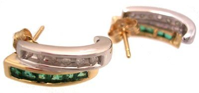 611: 14KY .50cttw Emerald Diamond t2one bar earring