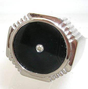 612: 14KW Onyx Circle Diamond Mens Ring