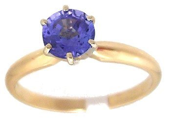 634: 14KY .75ct Blue Tanzanite Rd Solitaire Ring