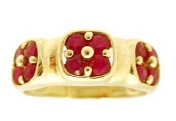 5900: 14KY .38ct Ruby Round 3 Cluster Band Ring
