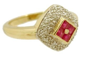 5901: 14KY .25ct Ruby Princess Diamond Ring
