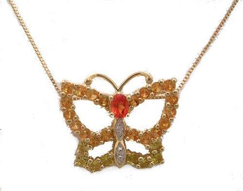 5904: 10KY 1cttw Orange Sapphire Butterfly pendant chai