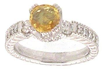 5905: 14KW 1.10ct Round Yellow Sapphire .30cttw Diamond
