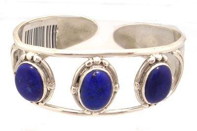 5909: Sterling Lapis 3 Oval open Cuff Bracelet